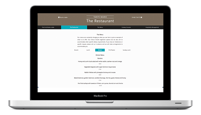 The Restaurant at Tante Marie Website